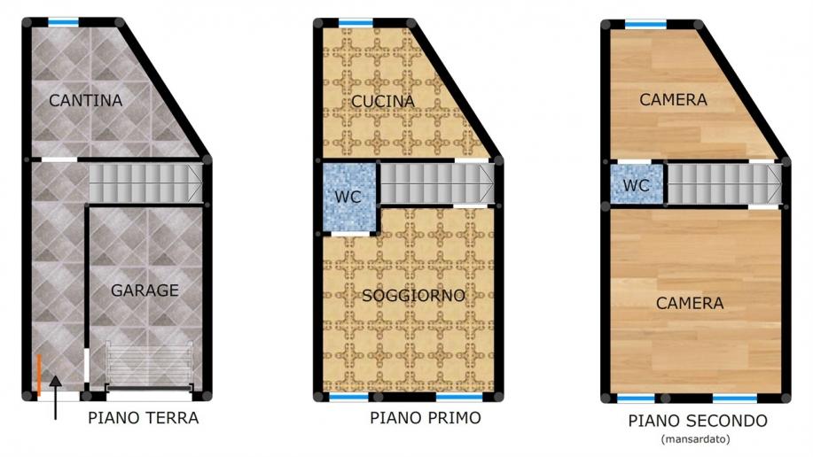 Pesaro - zona centro storico - schiera centrale in vendita